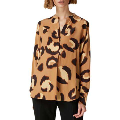 Jaeger Camel Animal Print Silk Blouse