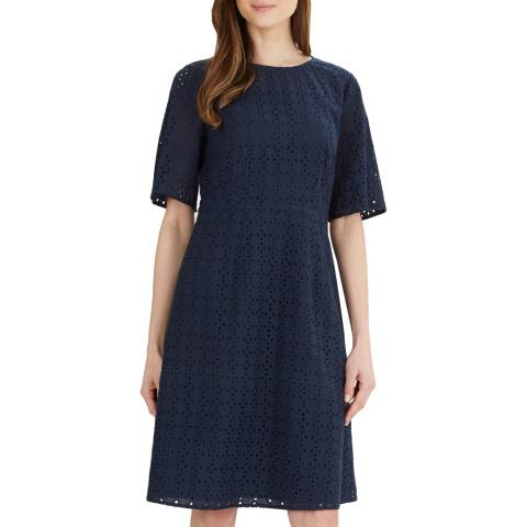 Jaeger Navy Broderie Cotton Dress