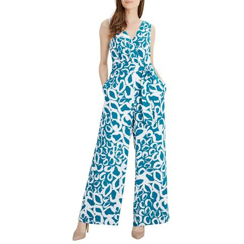 Jaeger Teal/White Wrap Front Jumpsuit