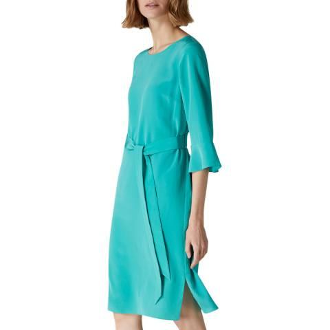 Jaeger Green Fluted Cuff Silk Dress