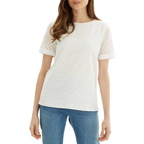 Jaeger White Broderie Cotton Top