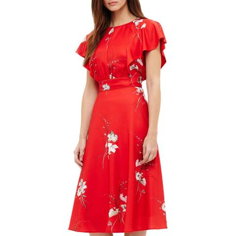 Phase Eight Red Floral Print Beatrix Dress