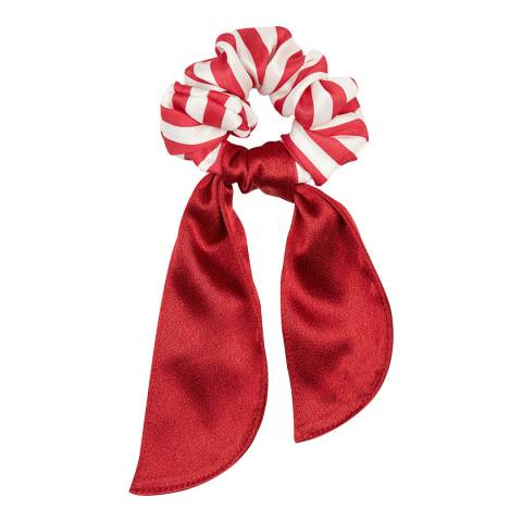 Marzoline Luxury Italian Red/White Stripe Silk Scrunchie