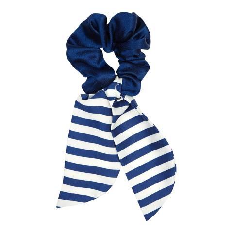 Marzoline Luxury Italian Navy/White Stripe Silk Scrunchie