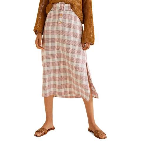 Mango Red Checked Midi Skirt