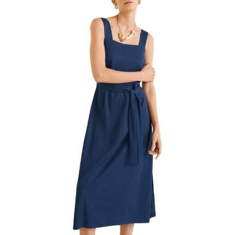 Mango Blue Bow Midi Dress