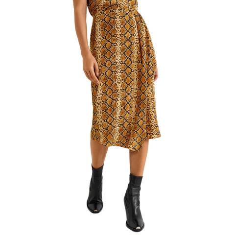Mango Mustard Snake Print Skirt
