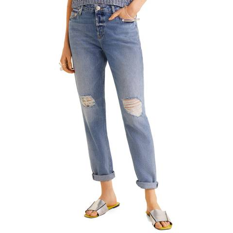 Mango Medium Blue Ripped Relax Jeans