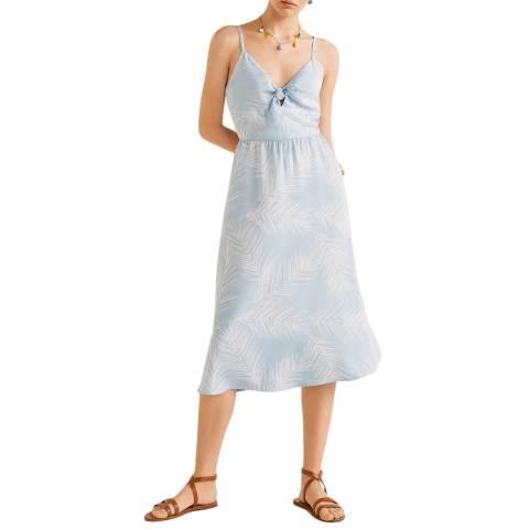 Mango Light Blue Midi Printed Dress