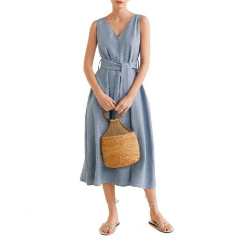 Mango Sky Blue Linen-Blend Shirt Dress