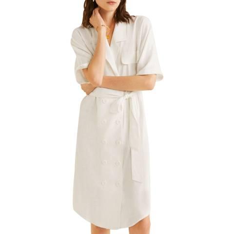 Mango Off White Linen-Blend Shirt Dress