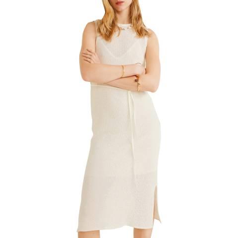 Mango Off White Knit Cotton-Blend Dress
