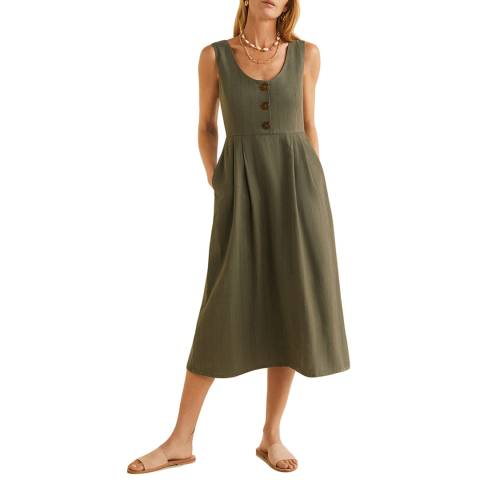 Mango Khaki Striped Linen Dress
