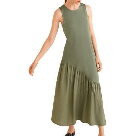Mango Khaki Ruched Detail Dress