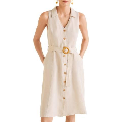 Mango Light/Pastel Grey Belt Linen Dress