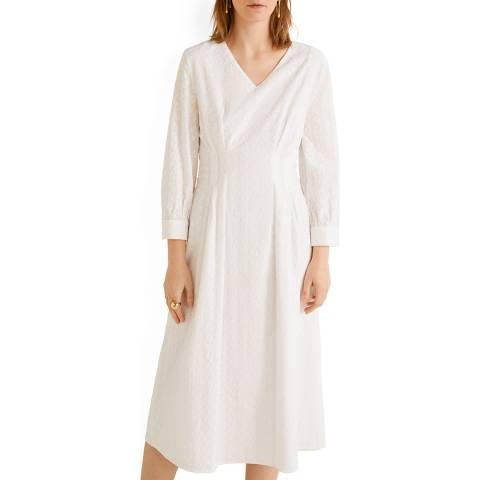 Mango White Embroidered Midi Dress