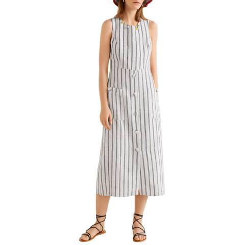 Mango Off White Striped Linen Dress