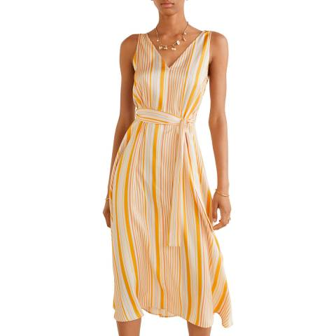 Mango Orange Striped Crepe Dress