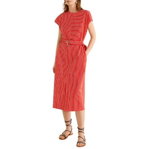 Mango Red Striped Shift Dress