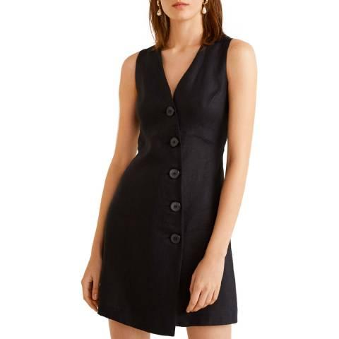 Mango Black Linen Wrap Dress