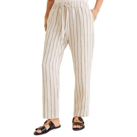 Mango Beige Straight Linen-Blend Trousers