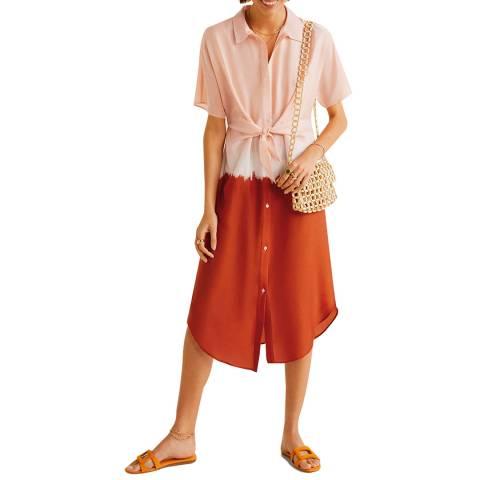 Mango Coral Red Tie-Dye Print Dress
