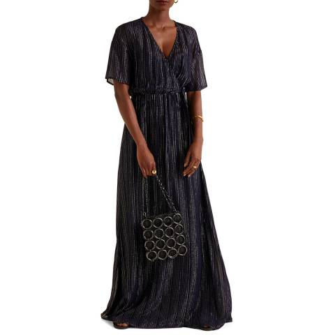 Mango Dark Navy Metallic Thread Dress