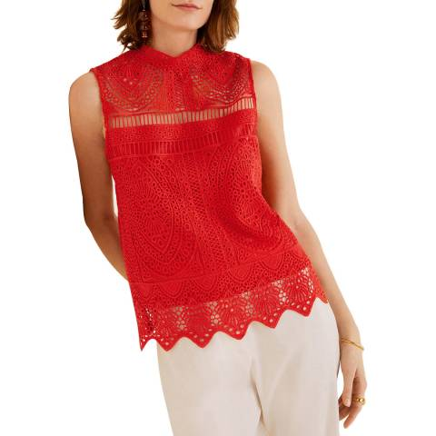 Mango Coral Red Embroidered Top