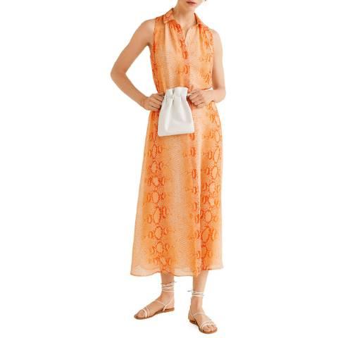 Mango Orange Printed Long Dress