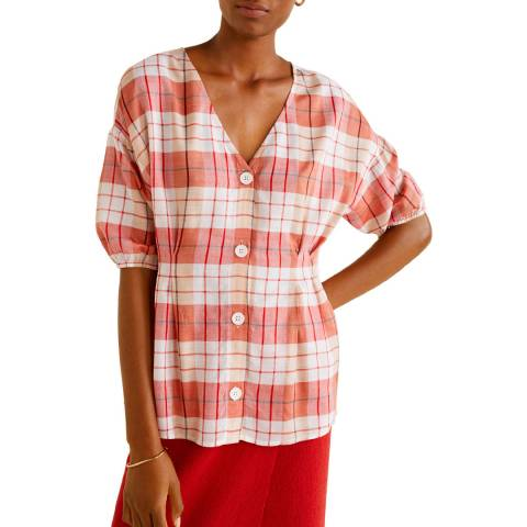 Mango Red Buttoned Check Blouse