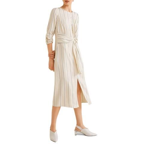Mango Off White Knotted Dress