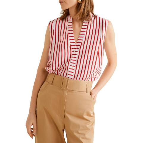 Mango Red Striped Blouse