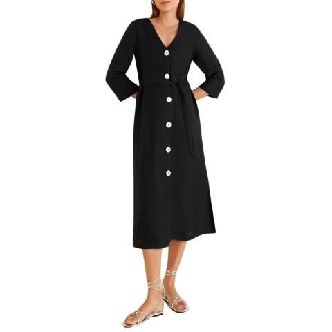 Mango Black Buttoned Linen-Blend Dress