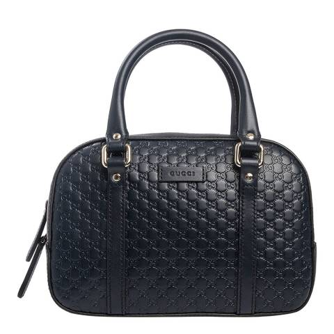 Gucci Navy Monogram Bowler Bag