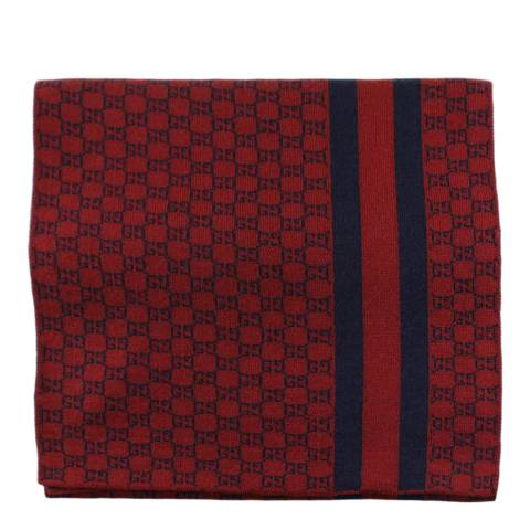 Gucci Red Monogram Print Scarf
