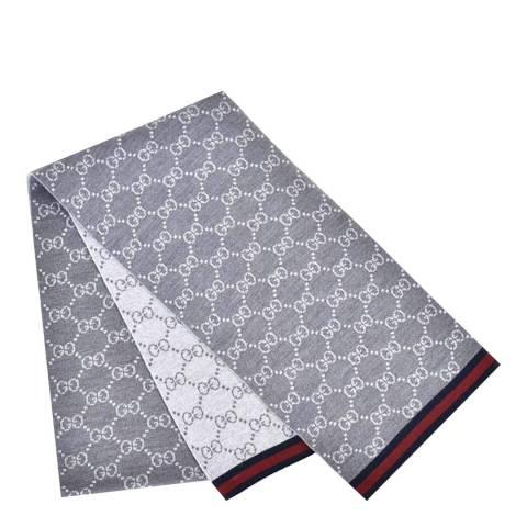 Gucci Grey Monogram Print Scarf