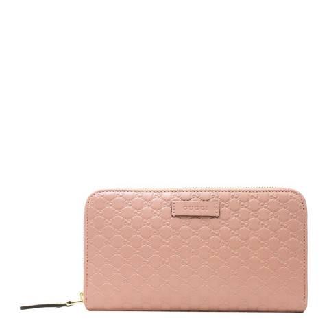 Gucci Women's Pink Leather Zip Around Purse