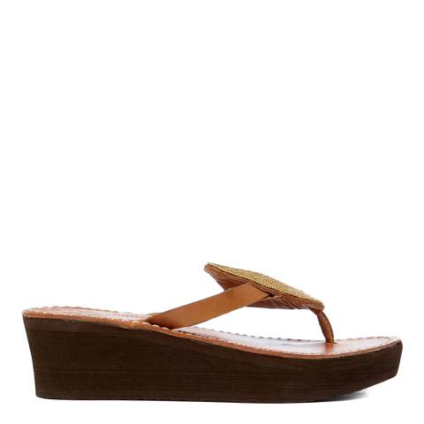 Laidback London Gold Jayda Wedge Sandal