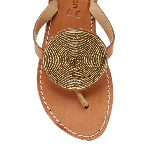 Laidback London Gold Jayda Flat Sandal