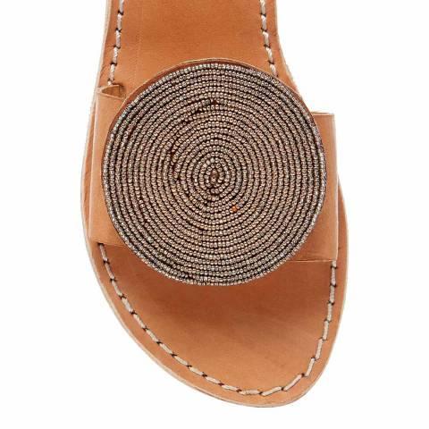 Laidback London Metal Grey Remi Leather Flat Sandal