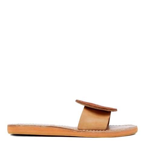 Laidback London Tan Remi Leather Flat Sandal