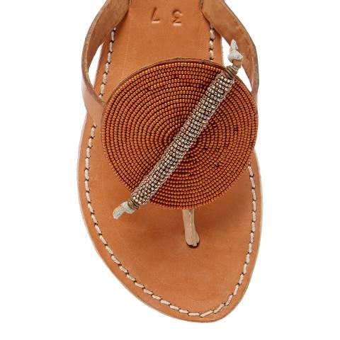 Laidback London Tan/Metal Gold Ridge Leather Flat Sandal