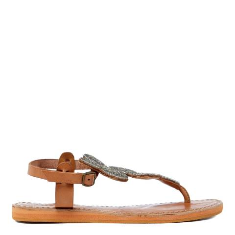 Laidback London Silver Leather Soll Leather Flat Sandals