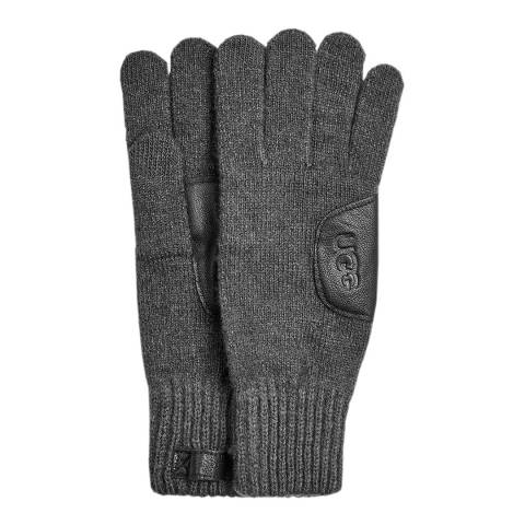 UGG Charcoal Knit Leather Patch Glove