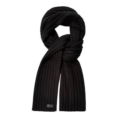 UGG Black Diagonal Ribbed Stripe Scarf