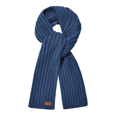 UGG Blue Diagonal Ribbed Stripe Scarf