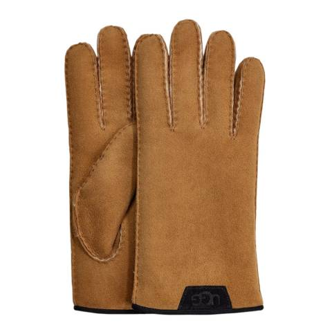 UGG Chestnut Shearling Glove with Leather Trim