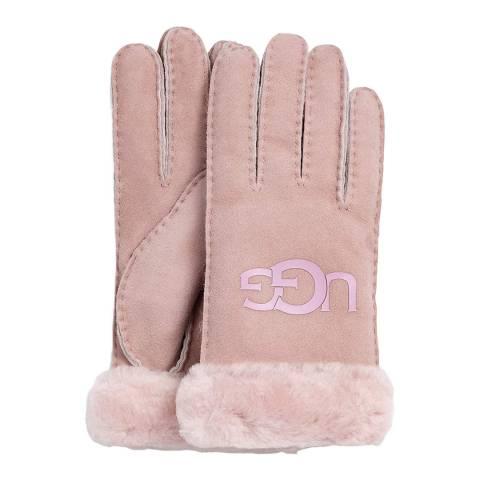UGG Pink Sheepskin Logo Glove