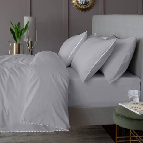 The Lyndon Company Pom Pom Single Duvet Cover Set, Grey