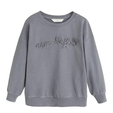 Mango Girl's Grey Embroidered Message Sweatshirt